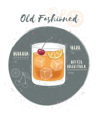 Illustration of cocktail Old Fashioned
