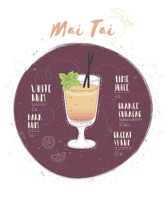 Illustration of cocktail Mai Tai Stock Vector - 93788738