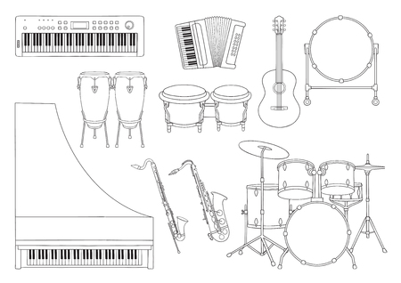 Vector set of Symphony Orchestra musical instruments. Stock Illustratie