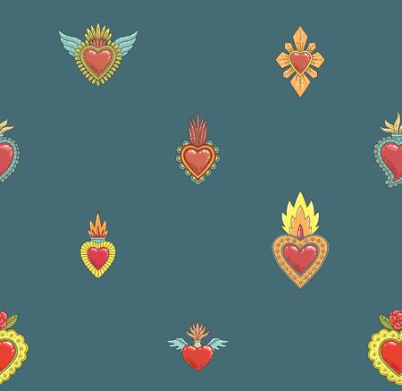 Sacred mexican heart seamless pattern Ilustração