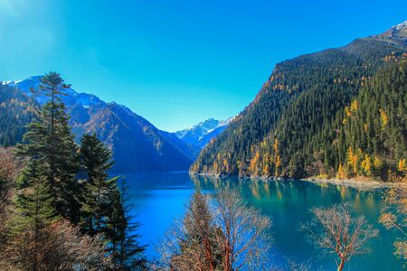 long lake: Long Lake,Jiuzhaigou,north of Sichuan province, China.