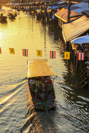 an agricultural district: Amphawa Floating Market,Amphawa district,Samut Songkhram Province,Thailand. Stock Photo