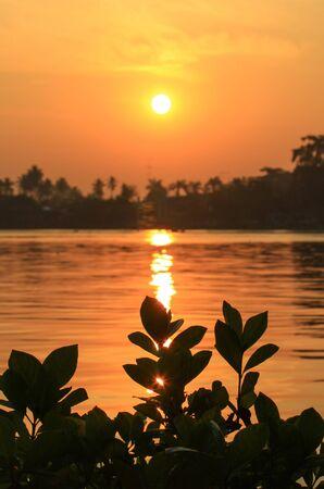 amphawa: sunrise at Mae Klong River,Amphawa district,Samut Songkhram Province,Thailand. Stock Photo