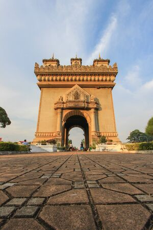 archtecture: Patuxai(Victory Gate or Gate of Triumph)- a war monument on Lang Xang Avenue in the centre of Vientiane, Laos.