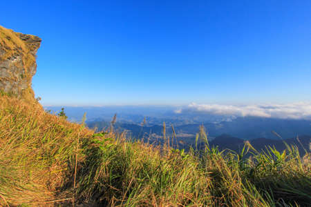 Sunny day at Phu Chi Fa(a mountain area and national forest park in Thailand,a part of Doi Pha Mon,located at the northeastern end of Phi Pan Nam Range,Thoeng District,Chiang Rai Province) Stock Photo