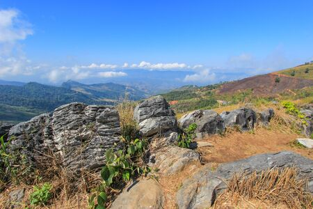tanga: Doi Pha Tang-a viewpoint on top of a high cliff located in Wiang Kaen district,Chiang Rai,Thailand.