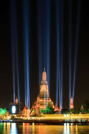 landscape riverside: Thailand Countdown 2016 Illumination at Wat Arun Ratchawararam Ratchawaramahawihan(Temple of Dawn),Buddhist temple in Bangkok Yai district of Bangkok, Thailand, on the west bank of Chao Phraya River Editorial