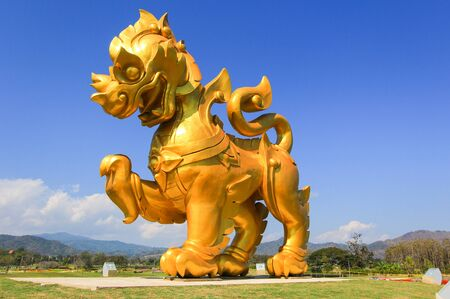 Singha statue at Singha Park,Mueang Chiang Rai District,Chiang Rai,Northern Thailand 스톡 콘텐츠