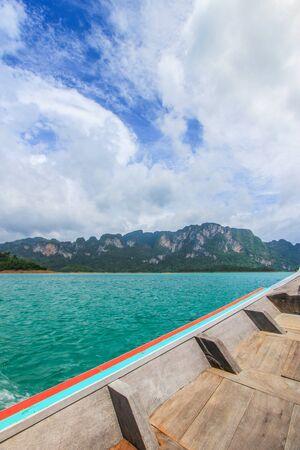 thani: on tourist boat at Cheow Lan Lake or Rajjaprabha Dam Reservoir,Khao Sok National Park,Surat Thani,southern Thailand Stock Photo