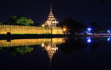 moat wall: Mandalay Palace Moat and Wall at night.