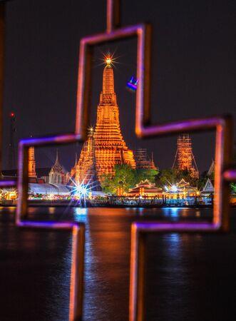 landscape riverside: night scene of Wat Arun Ratchawararam Ratchawaramahawihan(Temple of Dawn) in Bangkok, Thailand
