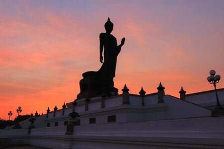 nakhon pathom: Evening sky at Phutthamonthon- Buddhist park in Phutthamonthon district,Nakhon Pathom Province of Thailand.