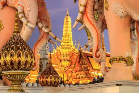 in wat phra kaew: Pink Erawan statues and Wat Phra Kaew,Bangkok,Thailand. Editorial
