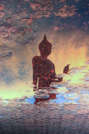 nakhon: Reflection shadow of Buddha statue at Phutthamonthon(Buddhist park in the Phutthamonthon district, Nakhon Pathom Province of Thailand, west of Bangkok) Stock Photo