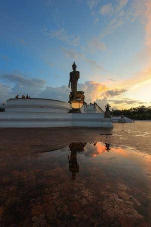 nakhon pathom: Reflection shadow of Buddha statue at Phutthamonthon(Buddhist park in the Phutthamonthon district, Nakhon Pathom Province of Thailand, west of Bangkok) Stock Photo