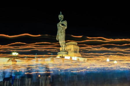 nakhon pathom: triple circumambulation on Visakha Puja Day  at Phutthamonthon (Buddhist park in Nakhon Pathom Province of Thailand)