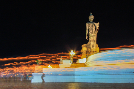 triple circumambulation on Visakha Puja Day  at Phutthamonthon (Buddhist park in Nakhon Pathom Province of Thailand)