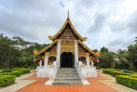 vihara: LanThong Chaloem Phra Kiat Vihara in the area of Mae Fah Luang University (MFU), in Chiang Rai Province,northern Thailand,with Chiang Saen style ubosot .
