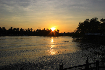 sunset at Mae Klong River,Amphawa district,Samut Songkhram Province,Thailand.