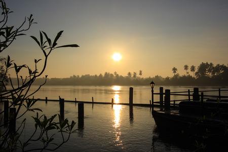 sunrise at Mae Klong River,Amphawa district,Samut Songkhram Province,Thailand. Stock Photo