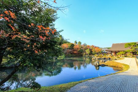 japanese fall foliage: Sogen Pond  at Tenryu-ji Temple(the head temple of the Tenryu branch of Rinzai Zen Buddhism,located in Susukinobaba-cho, Ukyo Ward, Kyoto, Japan) in autumn