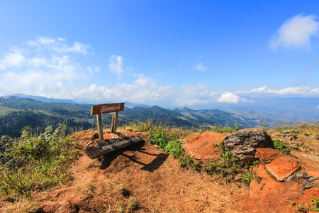 tanga: Doi Pha Tang-a viewpoint on top of a high cliff located in Wiang Kaen district, Chiang Rai, Thailand.