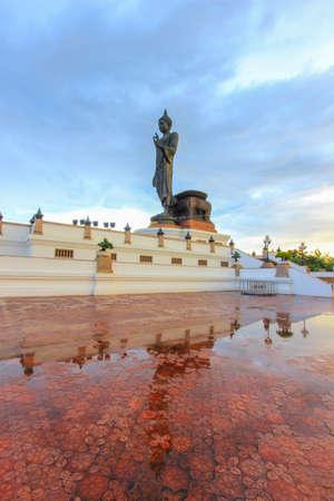 buddha statue: Reflection shadow of Buddha statue at Phutthamonthon (Buddhist park in the Phutthamonthon district, Nakhon Pathom Province of Thailand, west of Bangkok)