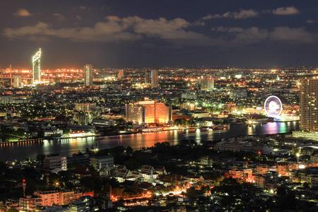 nightscape: nightscape along Chao Phraya River, Bangkok, Thailand Editorial