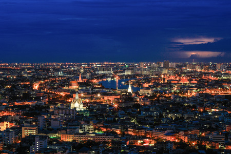 nightscape: nightscape of Bangkok,Thailand.-with lightning in the sky