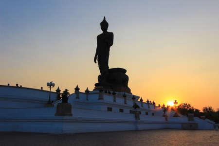 nakhon pathom: sunset sky at  Phutthamonthon(Buddhist park in Phutthamonthon district,Nakhon Pathom Province of Thailand)