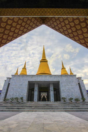 nakhon pathom: The Temple of Marble Pali Canon or Tipitaka in Phutthamonthon (Buddhist park in Phutthamonthon district, Nakhon Pathom Province of Thailand) Stock Photo