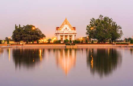 nakhon pathom: evening at Vihara of Phutthamonthon (Buddhist park in Phutthamonthon district, Nakhon Pathom Province of Thailand)
