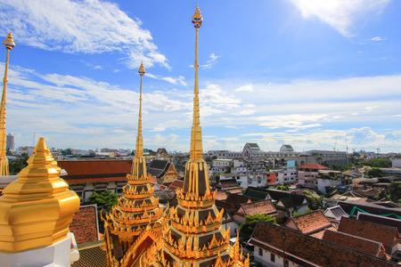 spires: beautiful metal spires of Loha Prasat,Wat Ratchanaddaram Woravihara (buddhist temple in Phra Nakhon district, Bangkok, Thailand)