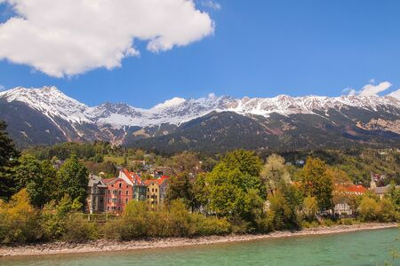 inn: Beautiful landscape across  Inn River, Innsbruck,  Austria Stock Photo