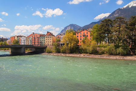 inn: Beautiful landscape across the Inn River, Innsbruck, Austria Stock Photo