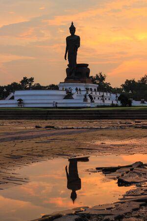 nakhon pathom: Reflection shadow of Buddha statue at Phutthamonthon (Buddhist park in the Phutthamonthon district, Nakhon Pathom Province of Thailand, west of Bangkok)