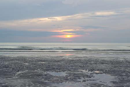 hua: sunrise at Hua Hin,Prachuap Khiri Khan Province,Thailand.With beautiful sky and beach. Stock Photo