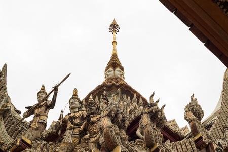 nakhon pathom: beautiful stucco decorations at the roof of  Wat Sisa Thong ,Nakhon Pathom,Thailand