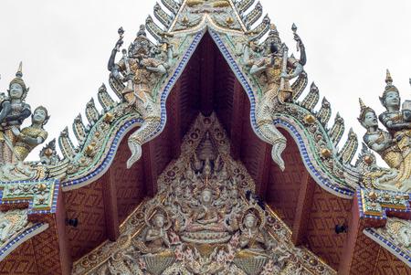 nakhon pathom: beautiful stucco decorations at gable roof of  Wat Sisa Thong ,Nakhon Pathom,Thailand