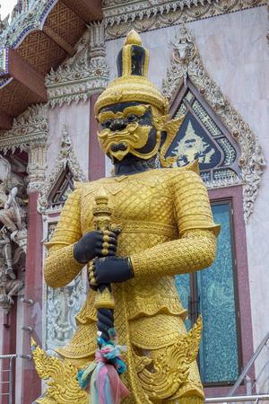 nakhon pathom: the guard in front of Vihara building of Wat Sisa Thong ,Nakhon Pathom,Thailand