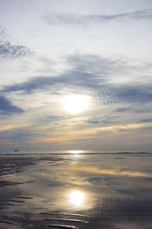hua hin: sunrise at Hua Hin,Prachuap Khiri Khan Province,Thailand.With beautiful sky and beach. Stock Photo