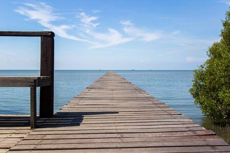 pathway to the sea at Laem Phak Bia,Pethaburi province,Thailand