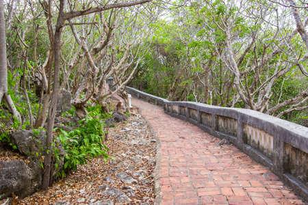 wang: pathway on the hill at Phra Nakhon Khiri(Khao Wang or hill with palace),Phetchaburi,Thailand.Built as a summer palace by King Mongkut.