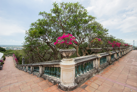 hill of the king: Phra Nakhon Khiri(Khao Wang or hill with palace),Phetchaburi,Thailand.Located on a hill overlooking the city,built as a summer palace by King Mongkut Stock Photo