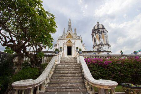 worshipping: overcast sky at Phra Thi Nang Wetchayan Wichian Prasat,Phra Nakhon Khiri(Khao Wang) in Phetchaburi province,Thailand. This hall is  for worshipping.