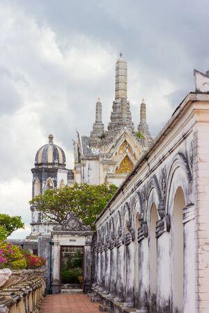 wang: overcast sky at Phra Thi Nang Wetchayan Wichian Prasat,Phra Nakhon Khiri(Khao Wang) in Phetchaburi province,Thailand. This hall is  for worshipping.