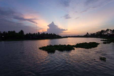 tha: evening sky at Tha Chin river(Maenam Tha Chin),Nakhon Pathom,Thailand