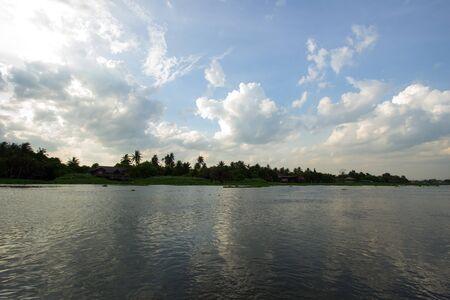 nakhon: evening sky at Tha Chin river(Maenam Tha Chin),Nakhon Pathom,Thailand