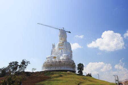 pla: Large Guan Yin Statue under construction at Wat Huay Pla Kang,Chiang Rai,Northern Thailand.