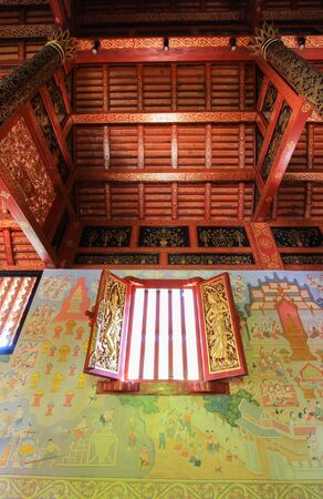 pra: beautiful arts and architecture at Wat Pra Singh - a Buddhist temple in Chiang Rai Province, northern Thailand Editorial